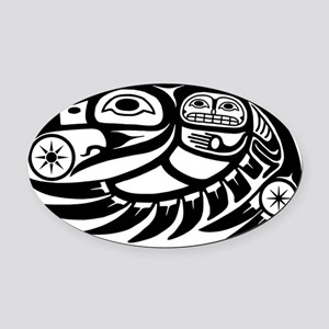 Native American Raven Sun Oval Car Magnet