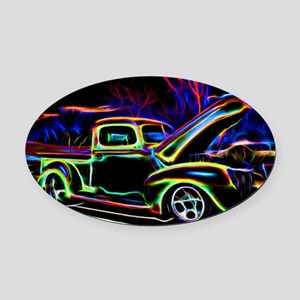 1940 Ford Pick up Truck Neon Oval Car Magnet