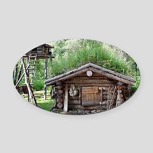 Old log cabin in woods, Alaska, US Oval Car Magnet