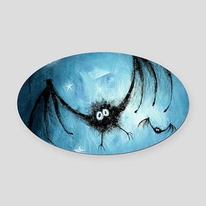 bat_blue_miniposter_12x18_fullblee Oval Car Magnet