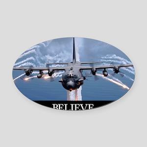 Military Poster: An AC-130H Gunshi Oval Car Magnet
