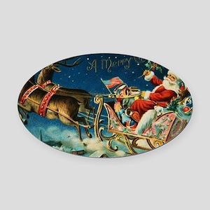 Vintage Santa Sleigh Oval Car Magnet