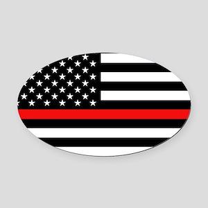 Firefighter: Black Flag & Red Line Oval Car Magnet