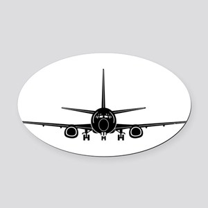 Airplane Oval Car Magnet