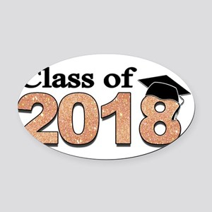 Class of 2018 Glitter Oval Car Magnet