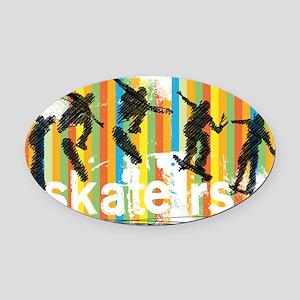 Ink Sketch of Skateboarder Progres Oval Car Magnet