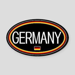 Germany: German Flag Oval (Black) Oval Car Magnet