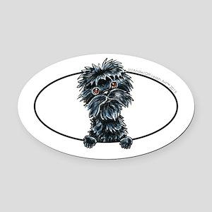 Affenpinscher Peeking Oval Car Magnet