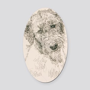 Irish_Wolfhound_KlineSq Oval Car Magnet