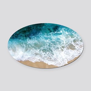 Water Beach Oval Car Magnet