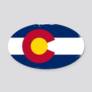 Colorado state flag rough edges Oval Car Magnet