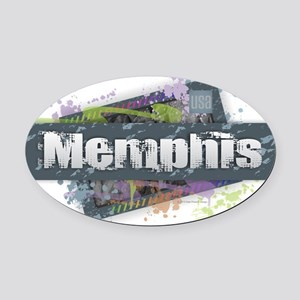 Memphis Design Oval Car Magnet