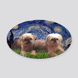 LIC-Starry Night - Two Brussels Gr Oval Car Magnet
