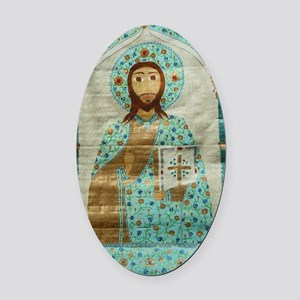 ChristTeacherLaptop Oval Car Magnet