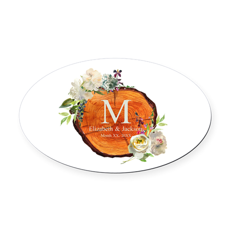 Floral Wood Wedding Monogram Oval Car Magnet