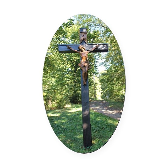 Crucifix Oval Car Magnet
