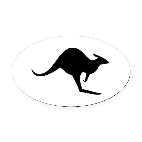 australian kangaroo black log Oval Car Magnet by Tomaniac