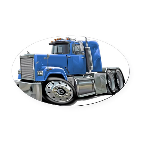 Mack Superliner Lt Blue Truck Oval Car Magnet