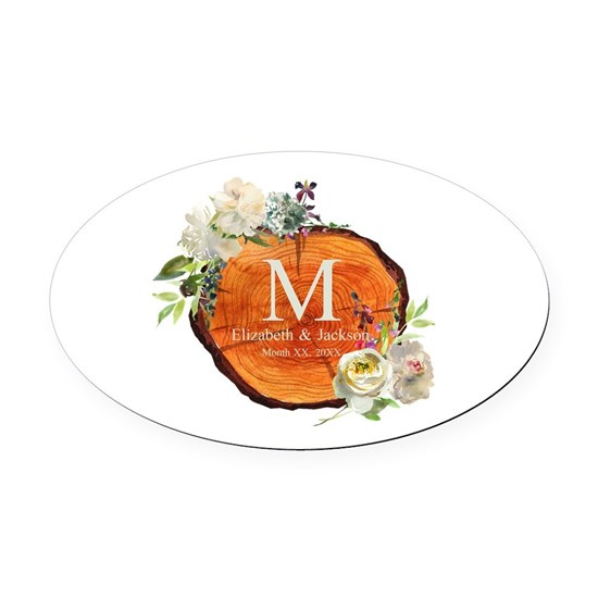 Floral Wood Wedding Monogram