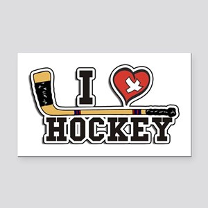 I Love Hockey Rectangle Car Magnet