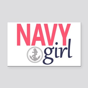 Navy Girl Rectangle Car Magnet