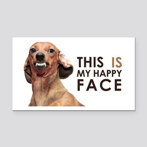 Happy Face Dachshund Rectangle Car Magnet