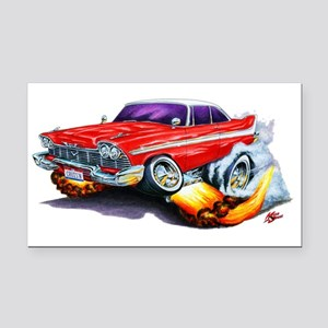 1958-59 Fury Red Car Rectangle Car Magnet