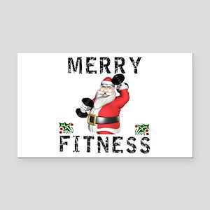 Merry Fitness Santa Rectangle Car Magnet