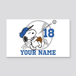 Snoopy Baseball - Personalize Rectangle Car Magnet