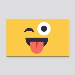 Winky Tongue Emoji Face Rectangle Car Magnet