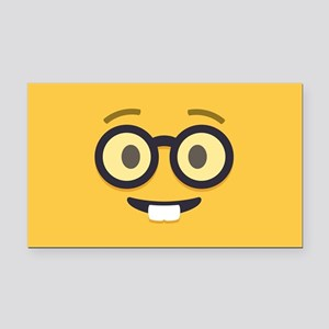 Nerdy Emoji Face Rectangle Car Magnet