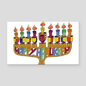 Happy Hanukkah Dreidel Menorah Rectangle Car Magne
