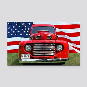 1948 Red Ford Truck USA Flag Rectangle Car Magnet