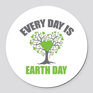 Every Day Earth Day Round Car Magnet