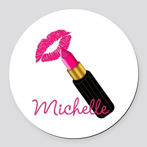 Hot Pink Lips n Lipstick Name Round Car Magnet