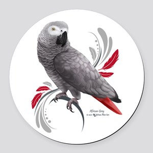 African Grey Parrot Round Car Magnet