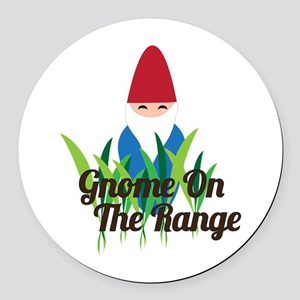 Gnome On The Range Round Car Magnet