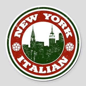 New York Italian American Round Car Magnet