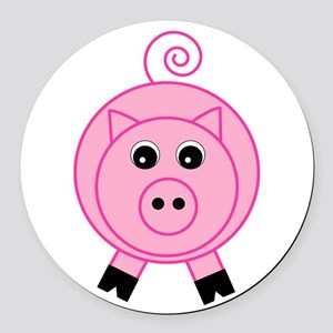 Cute Pink Pig Round Car Magnet