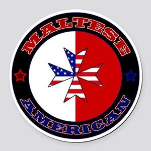 Maltese American Cross Ensign Round Car Magnet