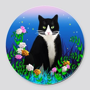 Tuxedo Cat among the Flowers Round Car Magnet