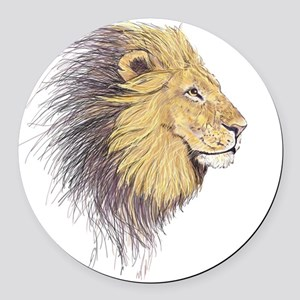Lions Head Round Car Magnet