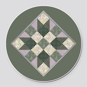 Lavender  Green Patchwork Circle Round Car Magnet