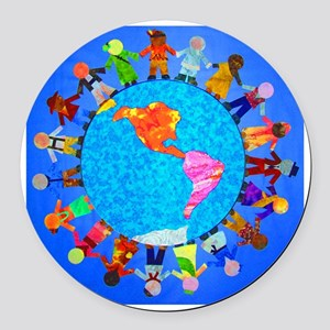 ChildrenAroundWorldCLOCK3 Round Car Magnet