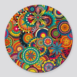 Funky Retro Pattern Round Car Magnet