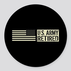 U.S. Army: Retired (Black Flag) Round Car Magnet
