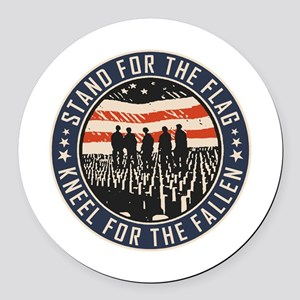Stand For The Flag Round Car Magnet