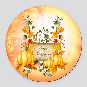 Happy thanksgiving with pumpkin Round Car Magnet