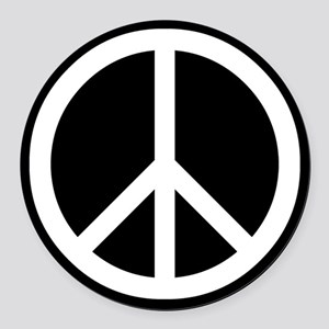 White Peace Sign Round Car Magnet