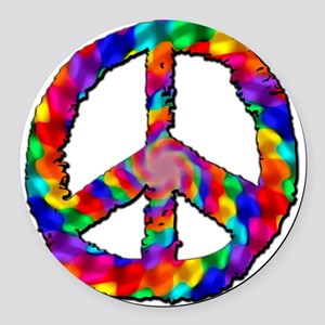 Psychedelic Peace Sign Round Car Magnet